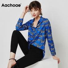 Blouse Shirt Tops Animal Long-Sleeve Aachoae Zebra-Print Turn-Down-Collar Blusas Ladies Tunic