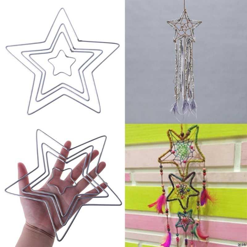 Star โลหะ Dream Catcher Dreamcatcher แหวน Macrame Craft Hoop อุปกรณ์เสริม DIY