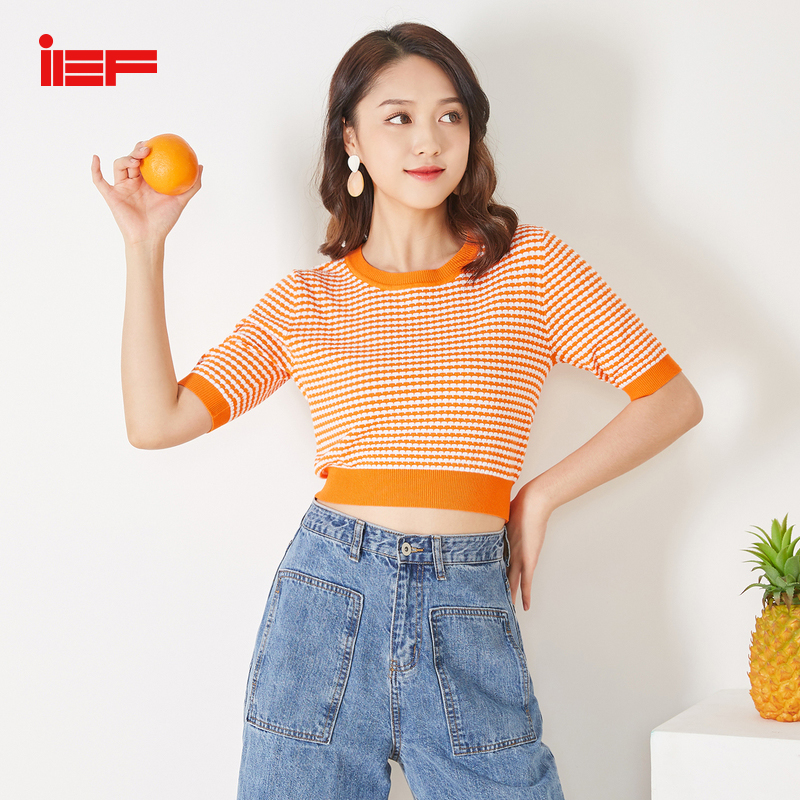 IEF Spring Summer Women T-Shirt Tops Knit Elastic Fashion O Neck Short Sleeve Female Blouse Pullover Short T Shirt 0719A-D168-