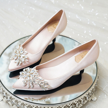 Wedding Shoes Low-heeled Pregnant Women's Bride Shoes Champagne High-heeled 3cm Crystal Wedding Dress Bridesmaid Shoes 2019