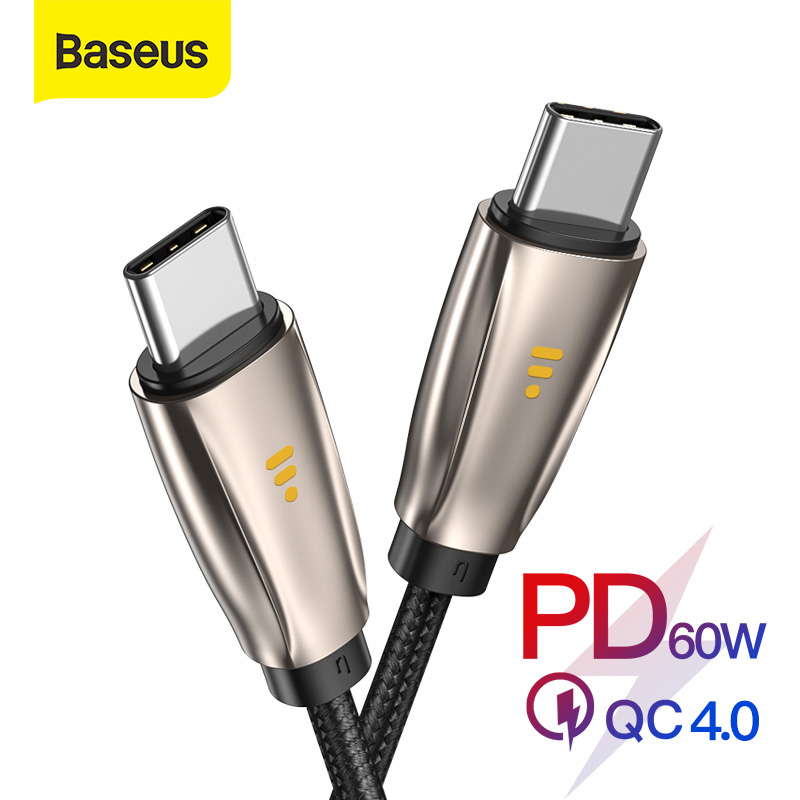 Baseus USB Type C to Type C Cable for Samsung S10 MacBook Pro LED 60W PD Fast Charging Cable Quick Charge 4.0 Type USB C Cable|Mobile Phone Cables|   - AliExpress