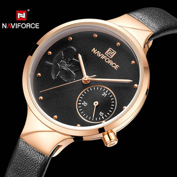 NAVIFORCE 5001 Women Watches Top Brand Luxury Quartz Analog Watch Woman Auto Date Leather Strap Fashion Casual Girl Clock Waterproof with box