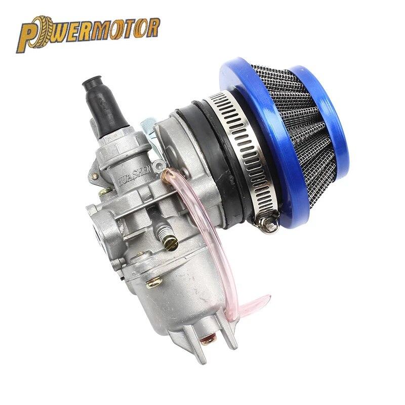 Carburador da motocicleta + aço 44mm filtro de ar azul vermelho pilha para 47cc 49cc mini moto sujeira bolso bicicleta atv quad go kart buggy