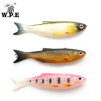цена W.P.E NEW Soft Lure 6pcs/pack 9cm 7g/pcs Minnow Worms Fishing Lure Bass Lure Jig Silicone Rubber Body Swimbait Shad Wobbler Bait онлайн в 2017 году