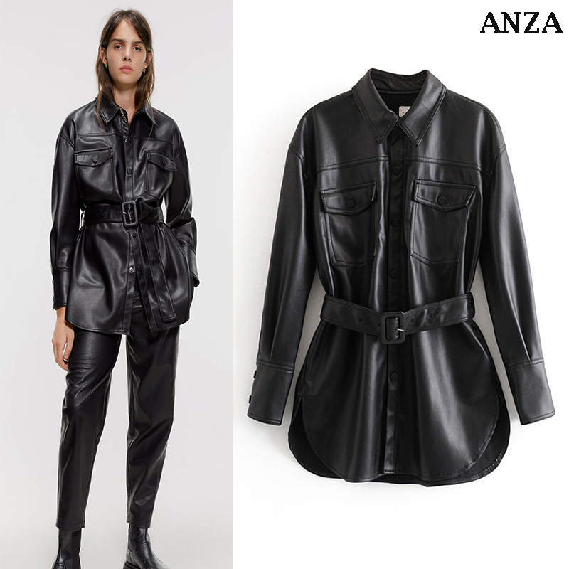 ZA Women Pu Jacket With Belt Button Elegant Coat Femme Spring Summer Sexy High Street Pu Outwear Coat