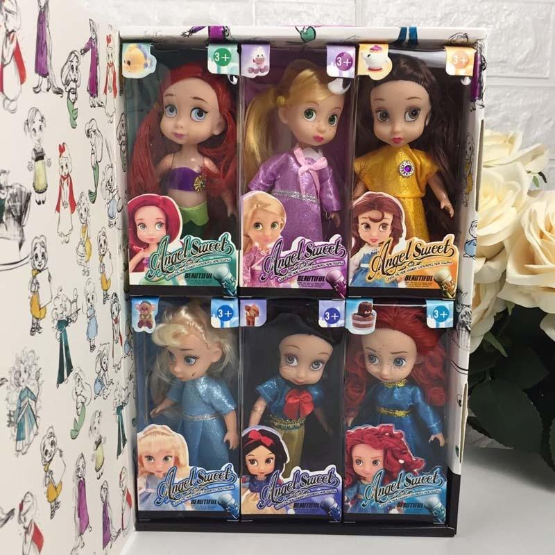 Angelsweet Disney Collection de poupées congelées 6 pièces Collection de poupées coffret cadeau conte de fées blanche-neige petite sirène fille jouets pour les enfants
