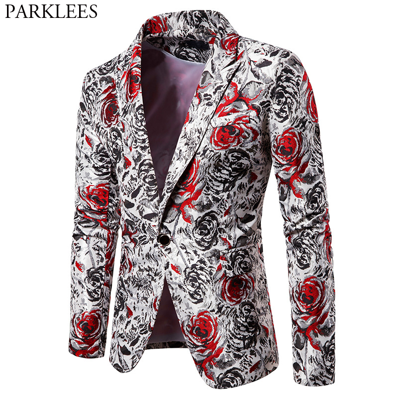 Men's Black Red Rose Print Stylish Blazer Slim Fit One Button Casual Blazer Jacket Male Party Wedding Prom Blazer Masculino 2XL