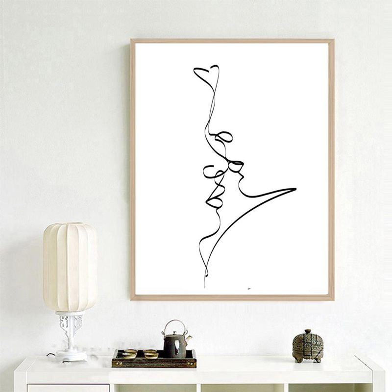 Single Line Love Wall Art Print