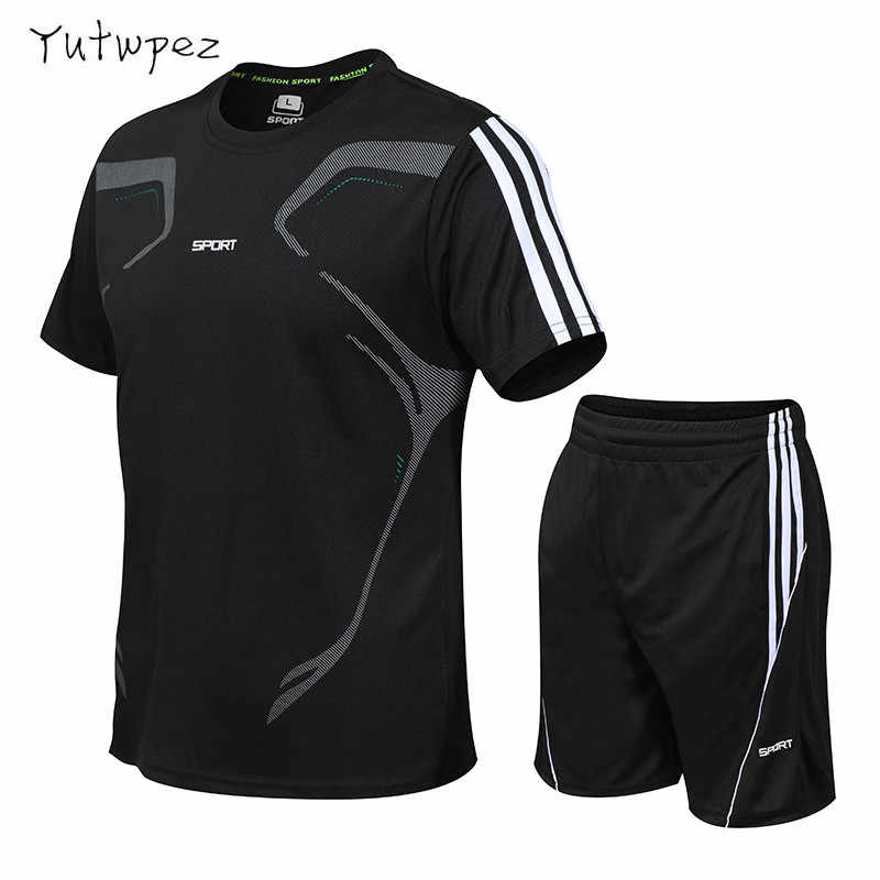 Summer Suit Men Fashion Men Sets Fitness Suit Quick-drying Short-Sleeved Shorts Tracksuit Men O-Neck Solid Sportswear Two-piece