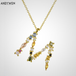 ANDYWEN 925 Sterling Silver Gold Leter M Pendant Initial F Alphabet Necklace Opals Fashion 2019 Women Accessories Jewelry(China)