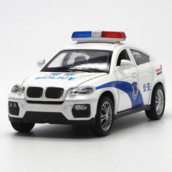 1/32 High Simulation BMW X6 Metal Diecast Vehicle Alloy Toy Police Car Sound And Light Pull Back Model Toys For Children's image