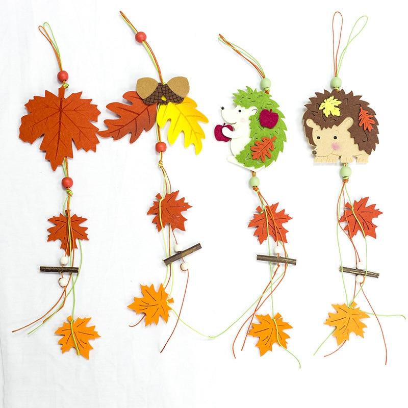 Creative Wood Felt Christmas Pendant Cartoon Hedgehog Maple Leaf Christmas Tree Drop Ornaments Decors Xmas Party Home Decoration