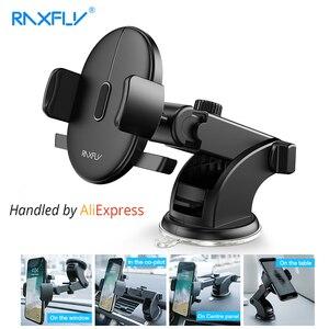 Image 1 - Raxfly Voorruit Mount Auto Telefoon Houder Voor Telefoon In Auto Voor Samsung S9 360 Rotatie Autohouder Voor Iphone Telefoon stand Ondersteuning