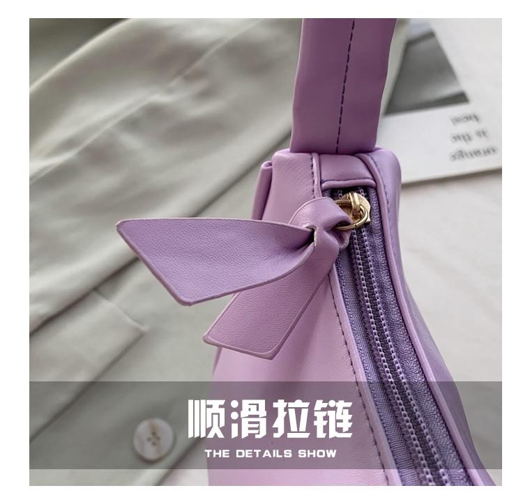 Soft Pu Leather Women Purple Underarm Bag Retro Solid Color Ladies Baguette Handbags Fashion Design Girls Small Shoulder Bags Mega Deal 1e55 Cicig