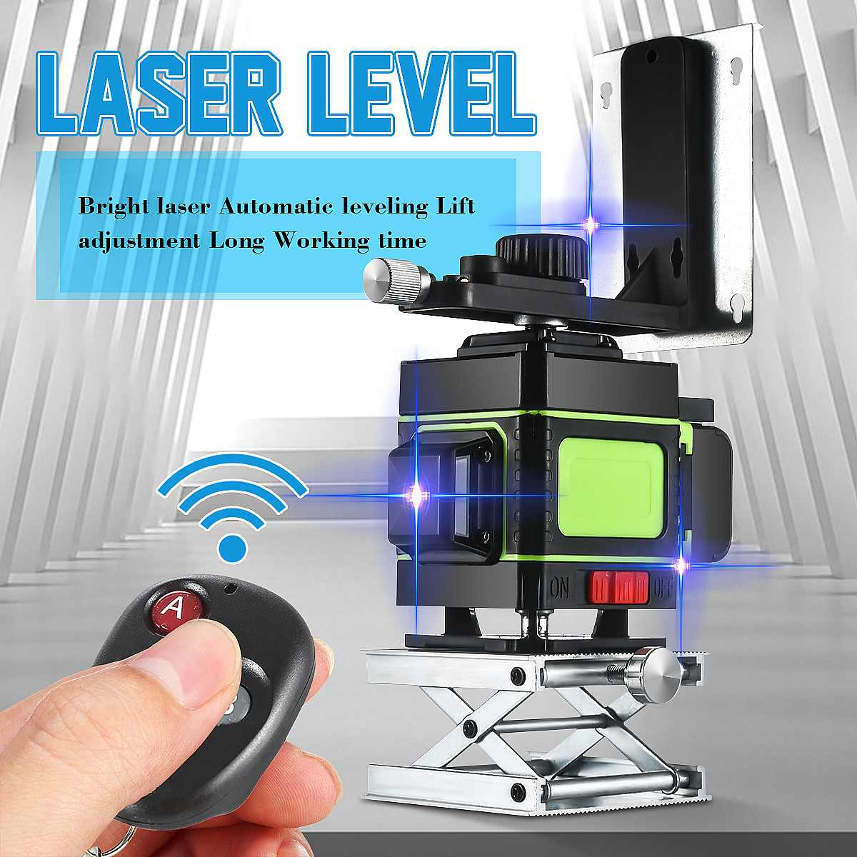 <font><b>3D</b></font> <font><b>12</b></font> Blue <font><b>Lines</b></font> <font><b>Laser</b></font> <font><b>Level</b></font> Measuring Devices <font><b>Line</b></font> 3x360 Degree Rotary Horizontal And Vertical Cross <font><b>Laser</b></font> <font><b>Level</b></font> Waterproof image