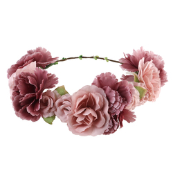ULTNICE Flower Wreath headband Floral Garland Crown Hair Accessories with Ribbon for Wedding Featival Party Holiday Light Cafe