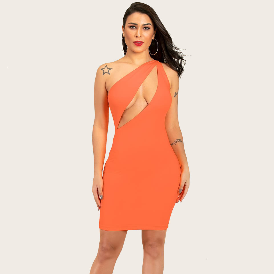 BacklakeGirls 2019 Sexy One Shoulder Sleeveless Cut Out Candy Solid Color Cocktail Dress Short Formal Dresses Robe De Gala