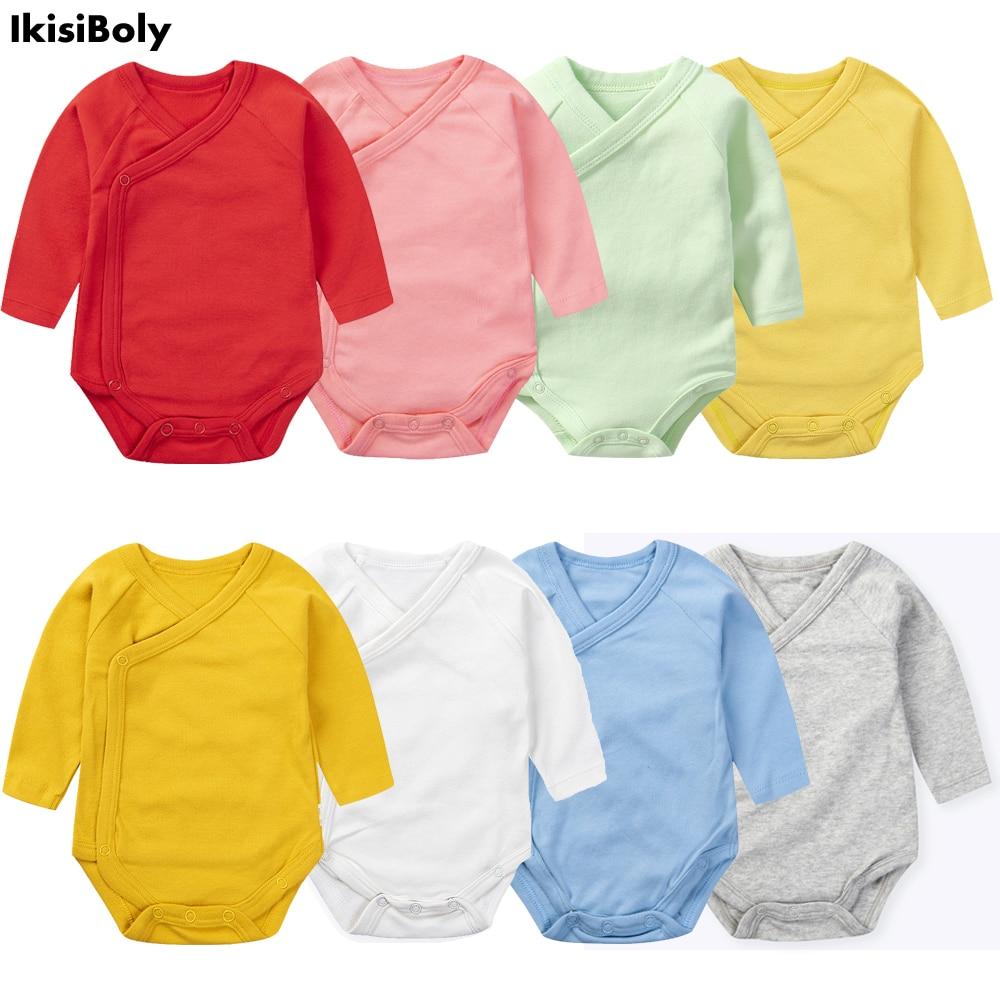Baby Girl Long Sleeved Bodysuit for Newborns Boys Cotton Costume Onesies Unisex Side Snap High-Necked 3-24M Designer Clothing