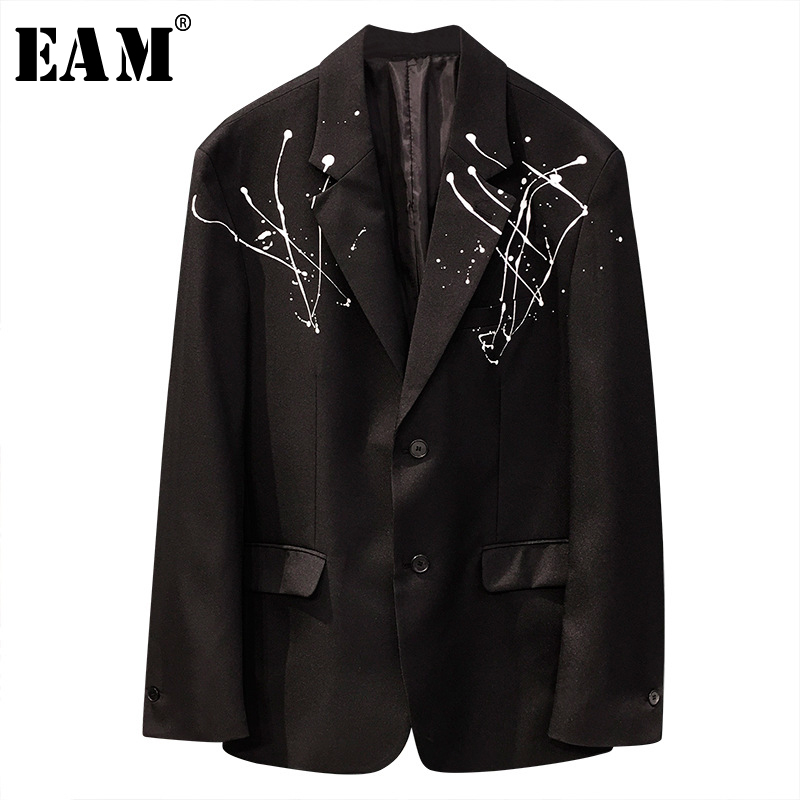 [EAM]  Women Black Pattern Printed Tassels Big Size Blazer New Lapel Long Sleeve Loose Jacket Fashion Spring Autumn 2020 1T739