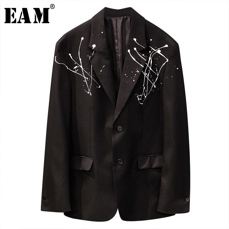 [EAM]  Women Black Pattern Printed Tassels Big Size Blazer New Lapel Long Sleeve Loose Jacket Fashion Spring Autumn 2020 1T739