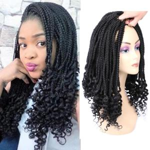 Mtmei Hair 18 Inch 22Strands/Pack Box Braids Crochet hair Curly Ends Black Brown Bug Synthetic Ombre Braiding hair Extensions