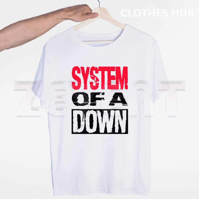 システムのダウンsoadロックメタル音楽バンドtシャツoネック半袖夏カジュアルファッションユニセックス男性と女性tシャツ