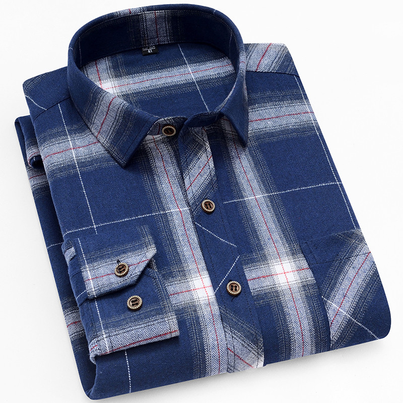 18 Colors 2019 Autumn Winter Warm Thick Mens Dress Shirt Casual Plaid Shirt Men  Brand Quality Cotton Social Business Shirt Men 33