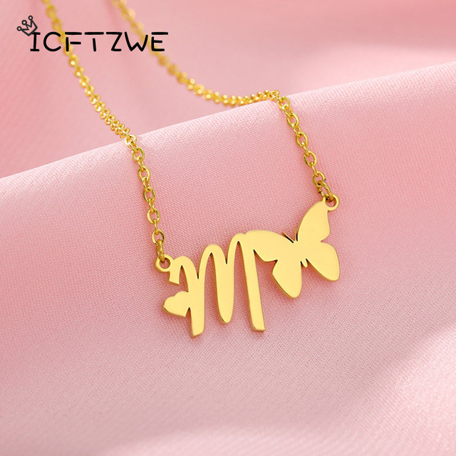 Initial Necklace With Butterfly For Women Stainless Steel Gold A-Z Letters Butterfly Necklace Femme Best Friend Jewelry BFF Gift 2