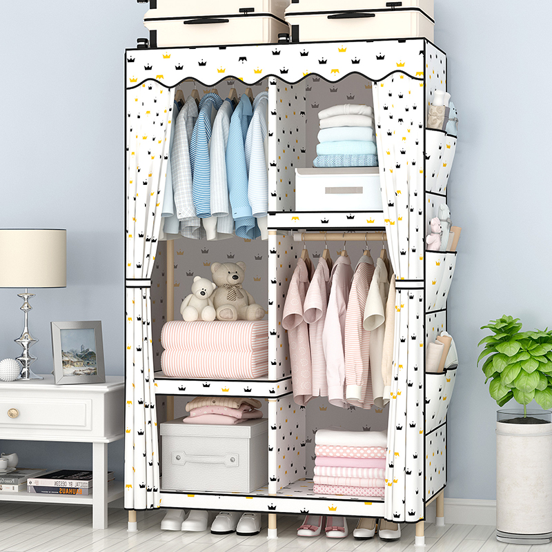Wardrobe simple cloth wardrobe solid wood fabric  economical  reinforcement bold thick large