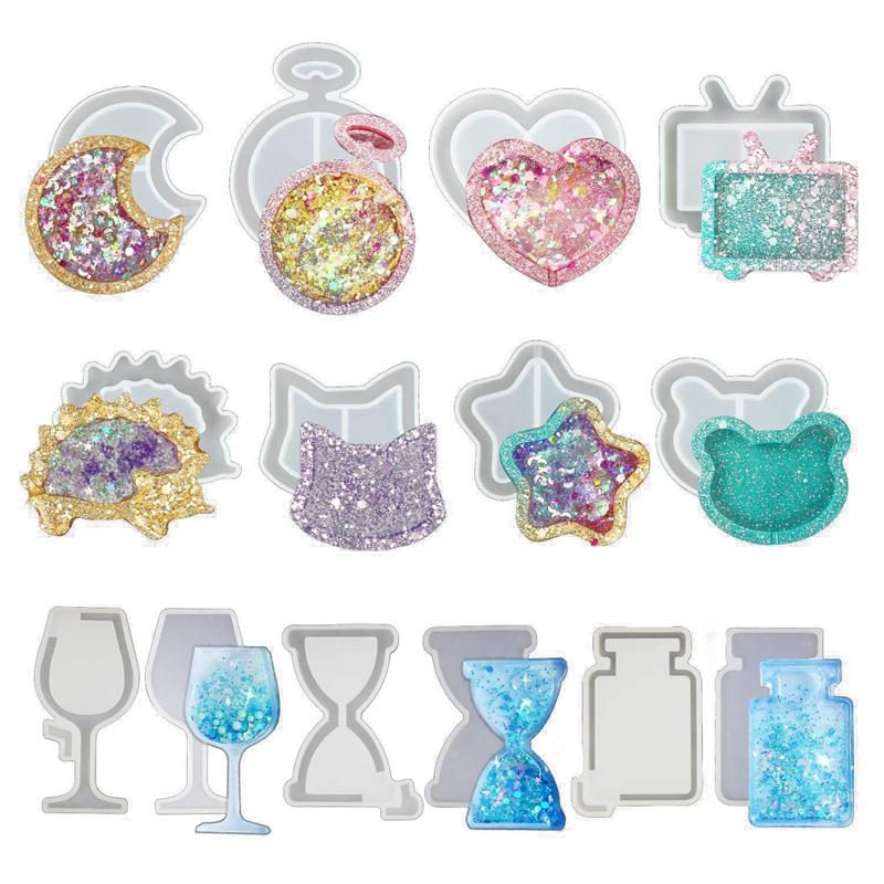 Resin Molds Resin Shaker Mold , Crystal Silicone Molds, Epoxy Resin Molds With Moon, Heart, Star, Hourglass, Cat, Wine Glass, Pe