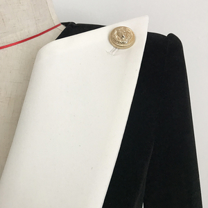 Image 5 - Wysokiej jakości 2019 nowe mody projektant marynarka damska duży kołnierz color block aksamitna marynarka krótka kurtka