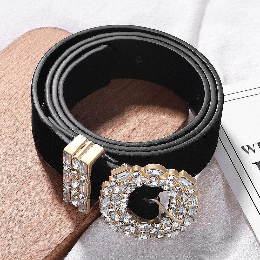 Women Fashion Alloy Diamond Belt Female Casual Belts Waistband For Dress