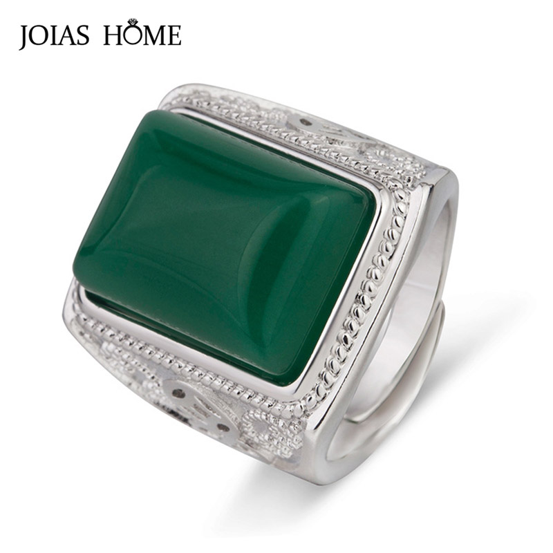 JoiasHome Rectangle Green Agate Ring for Men Silver 925 Jewelry Gemstones Ethnic style Male Luxury Opening adjustable Ring Gifts