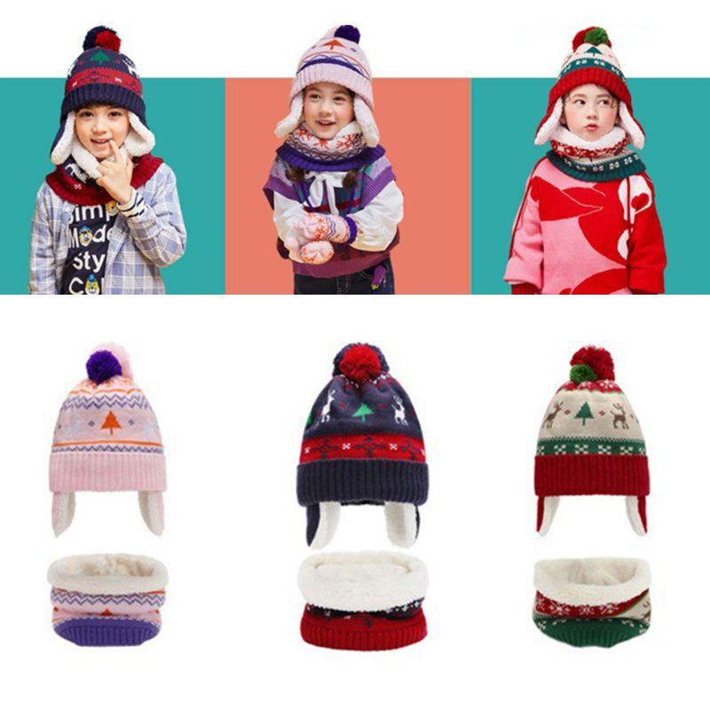 Toddler Kids Christmas Contrast Color Pompom Earflap Hat Scarf Gloves 3 Pcs Set