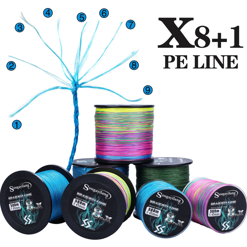 Sougayilang 9 Strands Strong PE Fishing Line 300M 500M 1000M  Abrasion Resistance Multifilament Durable Carp Fishing Line Pesca