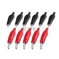 10 adet Kırmızı Siyah Yumuşak Çizme Kaplı Test Testi Timsah Klip Kelepçe Krokodil Pensleri    -