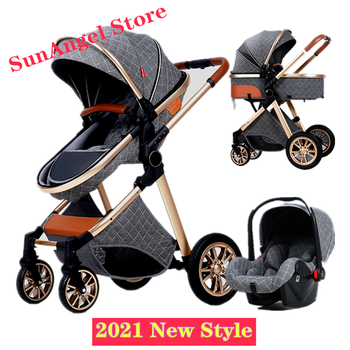 3 in 1 Baby Stroller Royal Luxury Leather Aluminum Frame High Landscape Folding Kinderwagen Pram with Gifts Baby Carriage цена 2017