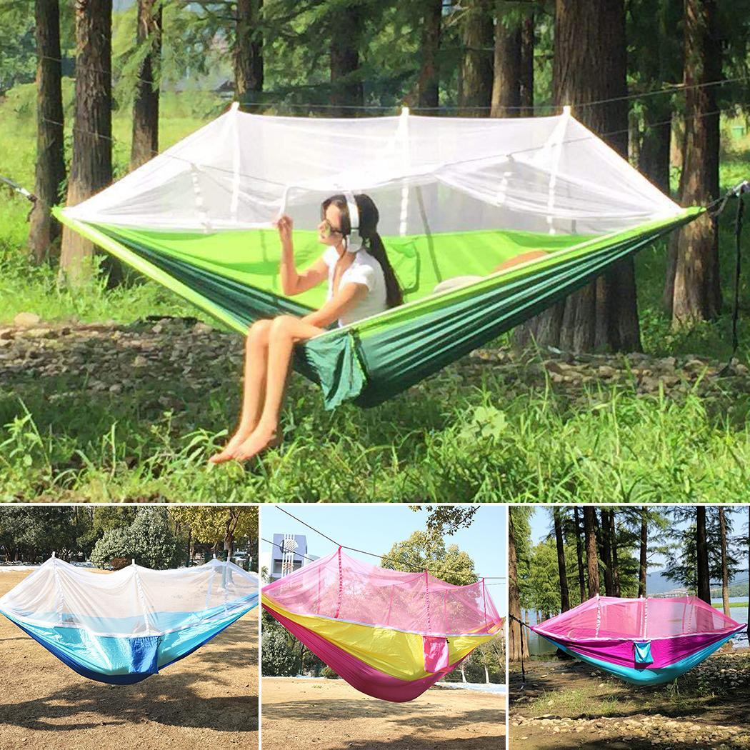 Durable Solid With Mosquito Net Hammock 300kg Outdoor Camping Random Hammock Single Bed Outdoor, Home