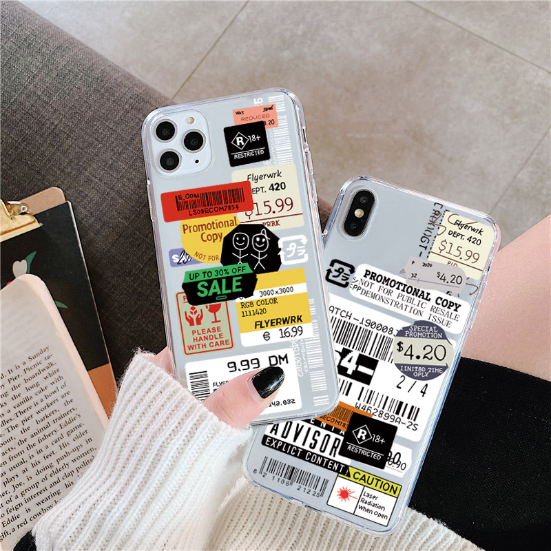 Luxury clear stamp label barcode Phone Case For iPhone 11 Pro MAX XR X XS MAX 7 8 6 6s plus Funny Transparent Soft Back Cover image