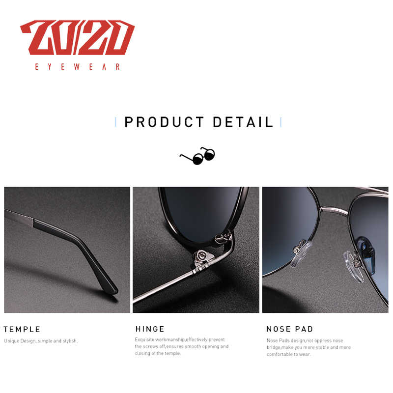 20/20 novo vintage metal polarizado óculos de sol dos homens marca clássica lente revestimento condução pesca ao ar livre tons ak17131