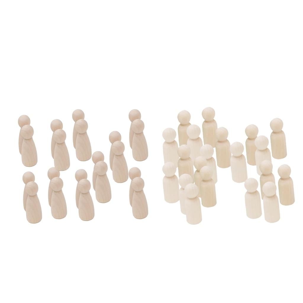 40 упаковок) куклы из необработанного дерева для мужчин и женщин, кукла-колышек для самостоятельной росписи, для творчества и творчества для ...