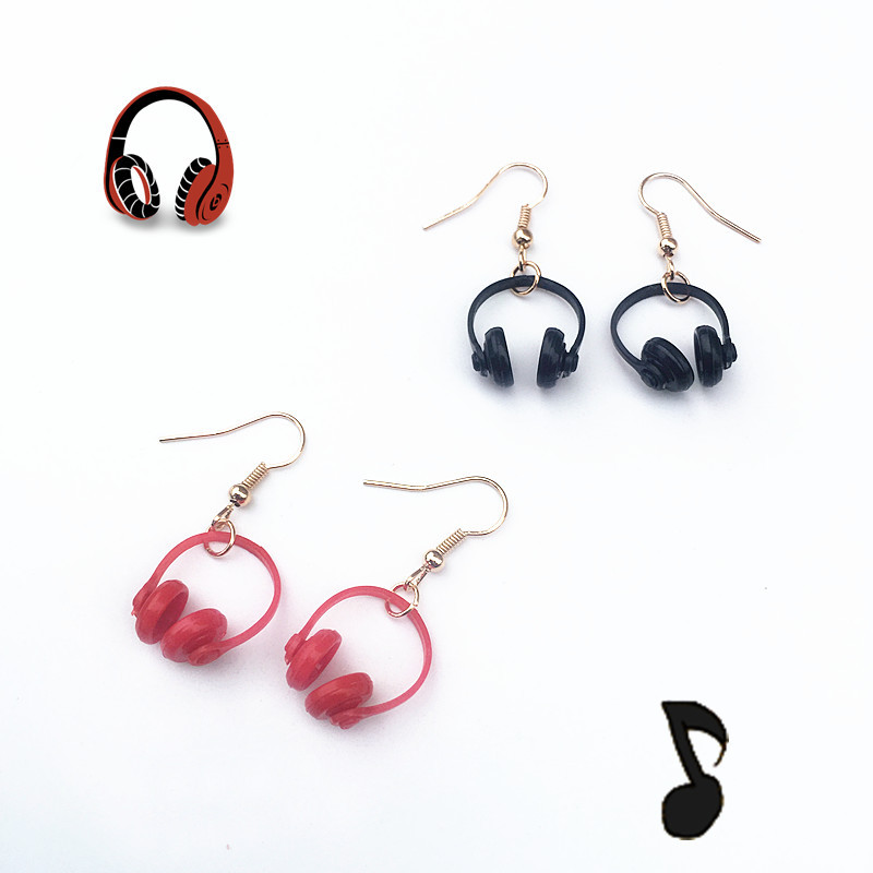 korean Personality Cool Mini Headset Drop Earrings Funny Creative Resin Music Dangle for Woman Handmade fine Jewelry