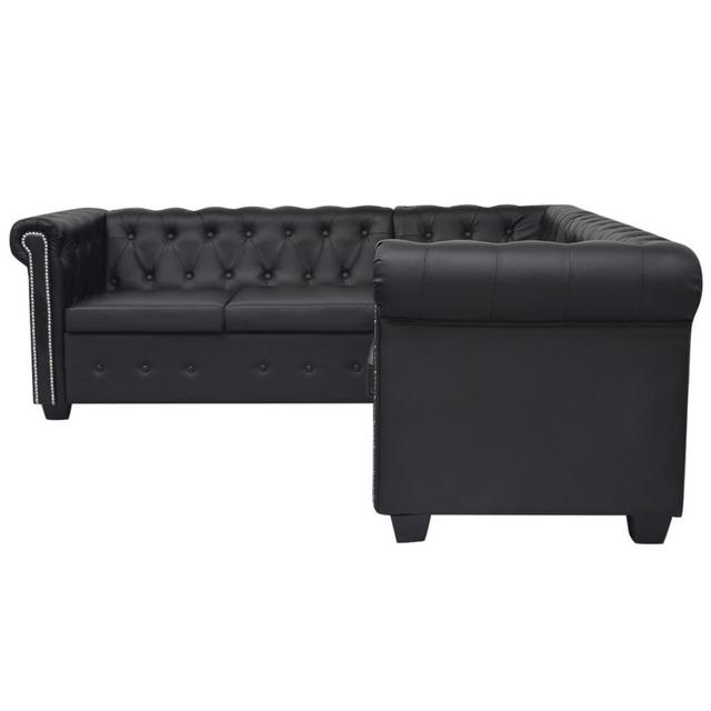 [ES Warehouse] Chesterfield Style 5 seater sofa in black artificial leather Free Shipping Spain Drop Shipping