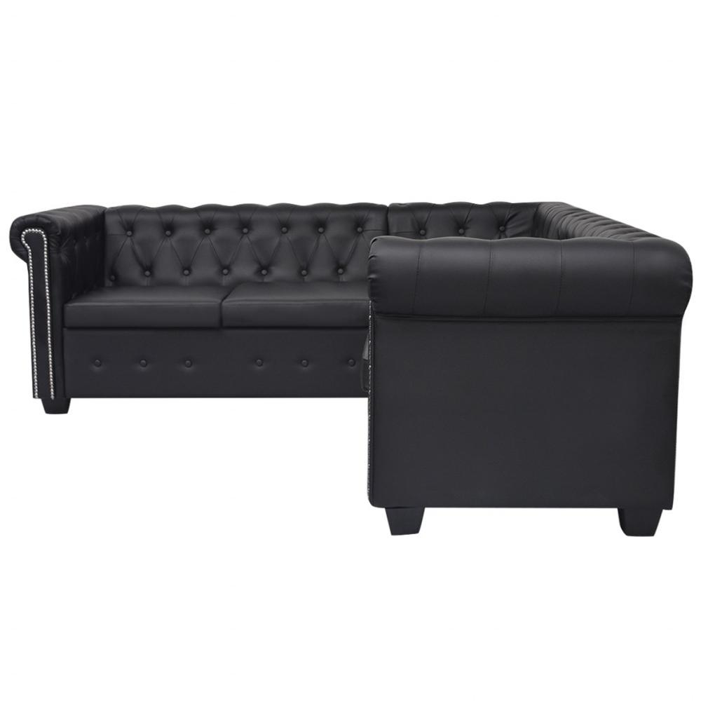 [ES Warehouse] Chesterfield Style 5 seater sofa in black artificial leather Free Shipping Spain Drop Shipping image