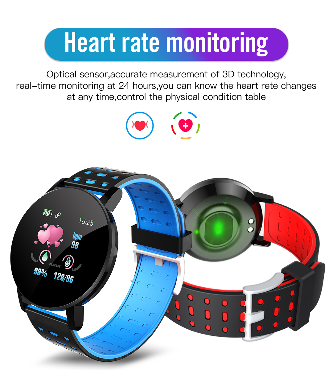 2020 119 Plus Smart Watch Men Women Blood Pressure Waterproof Sport Round Smartwatch Smart Clock Fitness Tracker For Android IOS 2