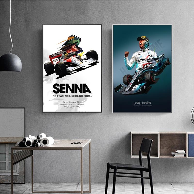 Ayrton Senna Ferraris F1 Mclaren Lewis Hamilton Formula1 Poster Und Drucke 2020 Rennen Auto Wand Kunst Leinwand Home Wohnzimmer decor