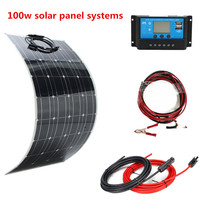 100W 200W Flexible Solar Panel 10A/20A Solar Controller Module for Car RV Boat Home Roof Camping 12V 24V Solar Battery charger