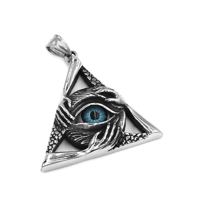 Stainless Steel Black Gun Eye of Ra Egypt Lucky Charm Big Heavy