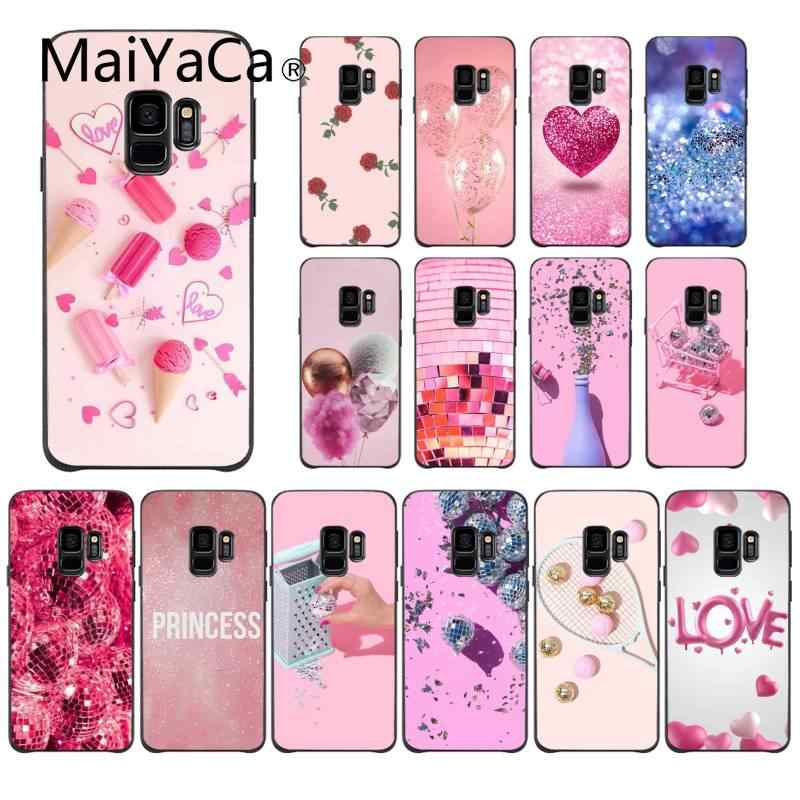 MaiYaCa Love Pink Pretty Gold Glitter Ball Rose Colorful Cute Phone Case for Samsung A8Plus 2018 9S 920 10S 20S 10 40 20 30 50