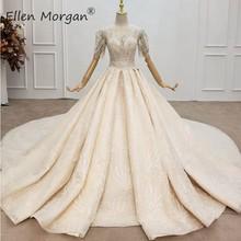 Vestidos de gala de encaje con cristales de lujo, vestidos de novia para mujer, elegantes vestidos de novia con cuentas de manga larga de Arabia Saudita 2020